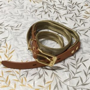 Madewell Gold Metallic Chain and Tan Leather Belt